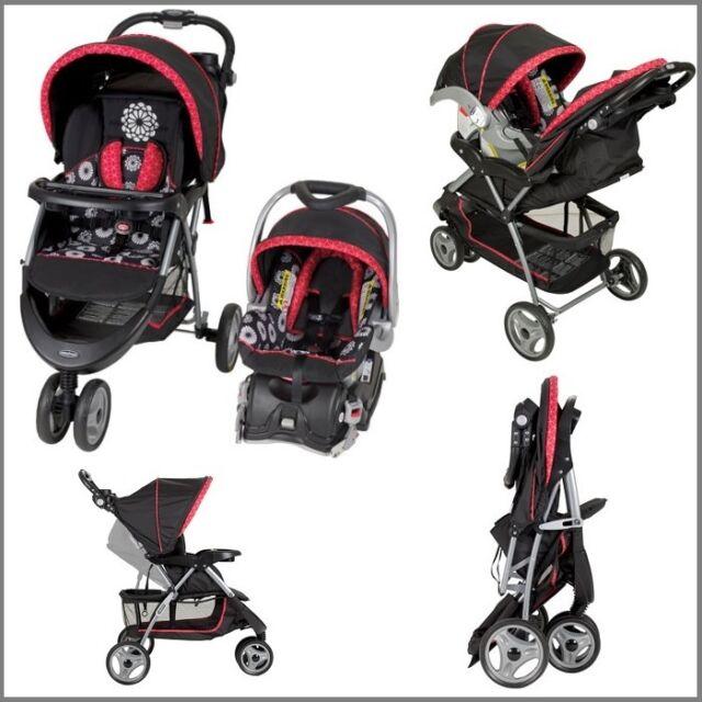 Baby Stroller And Car Seat Travel System Pram Toddler Push Chair Girls New