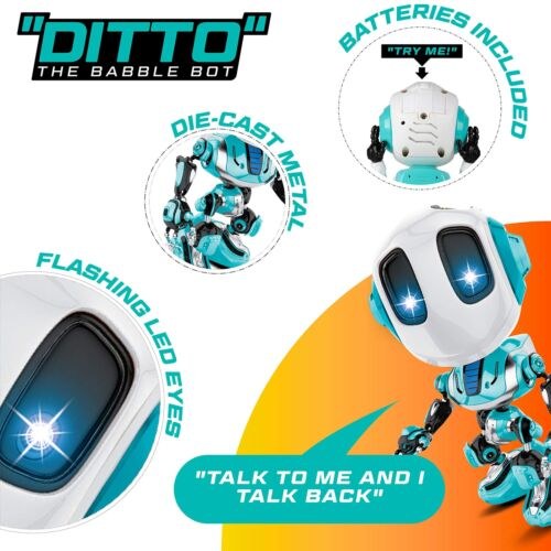 Talking Robot Toy with Posable Body Ditto Mini,Voice Changer for Kids Blue