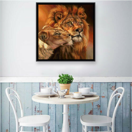 Lion Couple Full Drill 5D Diamond Painting Cross Stitch Kits Embroidery Gifts