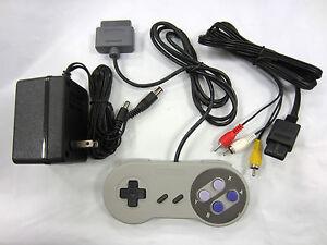 SNES AC Adaptor Power Supply + AV Cable Cord + CONTROLLER (Super Nintendo)