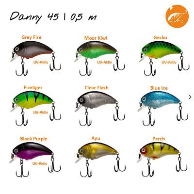 """Zeck Predator /""""Danny/"""" 4,5cm 0,5m//1,8m Tauchtiefe Wobbler Barsch Zander Rapfen"""