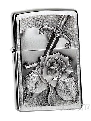 Heart With Rose Brushed Chrome Emblem Zippo New