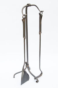 Hand-Forged-Fireplace-Tools-2-Pcs-27-034-Fireplace-Tool-Set-Wrought-Iron-Handmade