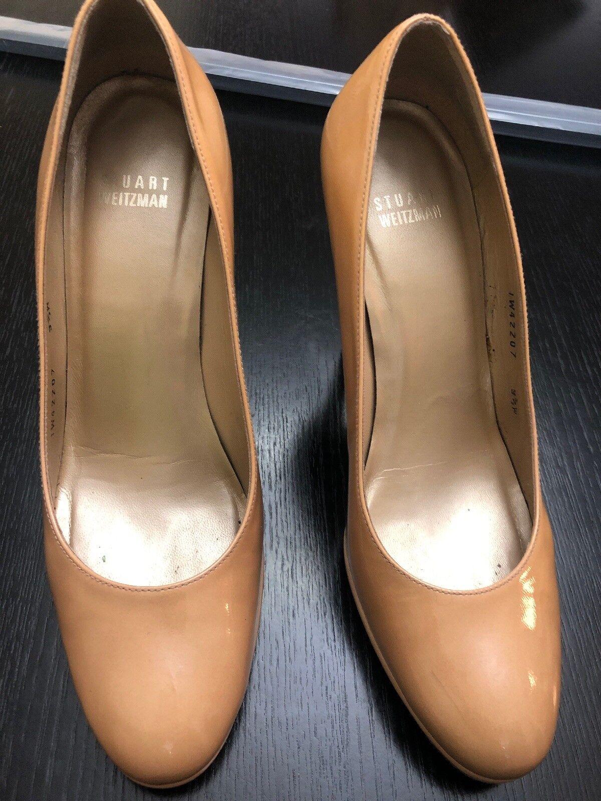 Stuart Weitzman Platswoon Patent Platform Pump, Adobe 9.5 W Women's shoes Tan