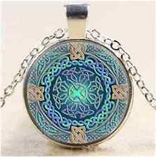 Celtic Eye of the World Cabochon Glass Tibet Silver Chain Pendant  Necklace