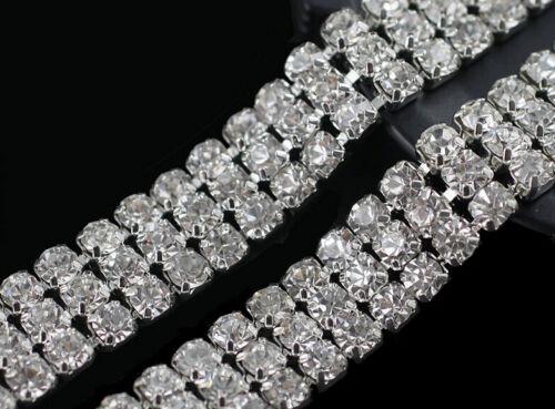 1 Yard Diamond Clear Crystal Rhinestones Silver Chain Trim  Sewing Wedding Craft