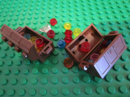 Lego 2 x Minifigure Pirate Brown Treasure Chest Container with Jewels