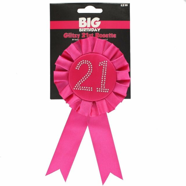 Happy 21st BIG Birthday Glitzy Rosette Award Ribbon HOT PINK with Diamantes