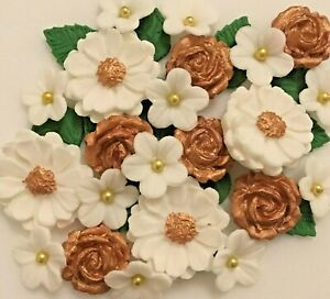 Gold and White Bouquet - Edible Sugar Paste - Cup Cake ...