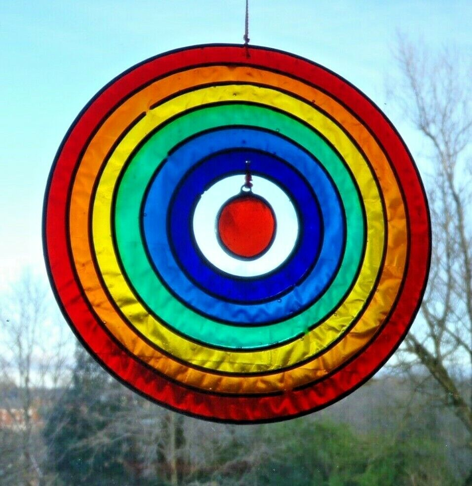 RAINBOW CIRCLE SUN CATCHER 12.5 cm STAINED GLASS EFFECT Complete with Hook