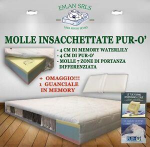 MATERASSO MOLLE INSACCHETTATE PIAZZA 1/2 MEMORY WATERLILY PURO ...