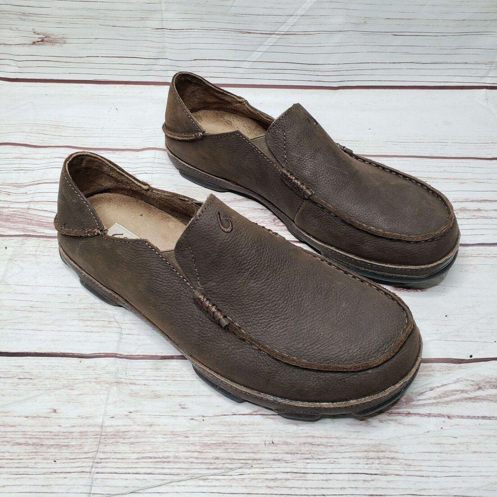 OLUKAI MOLOA homme en cuir marron mocassin conduite en marchant Décontracté Chaussures Taille 10.5