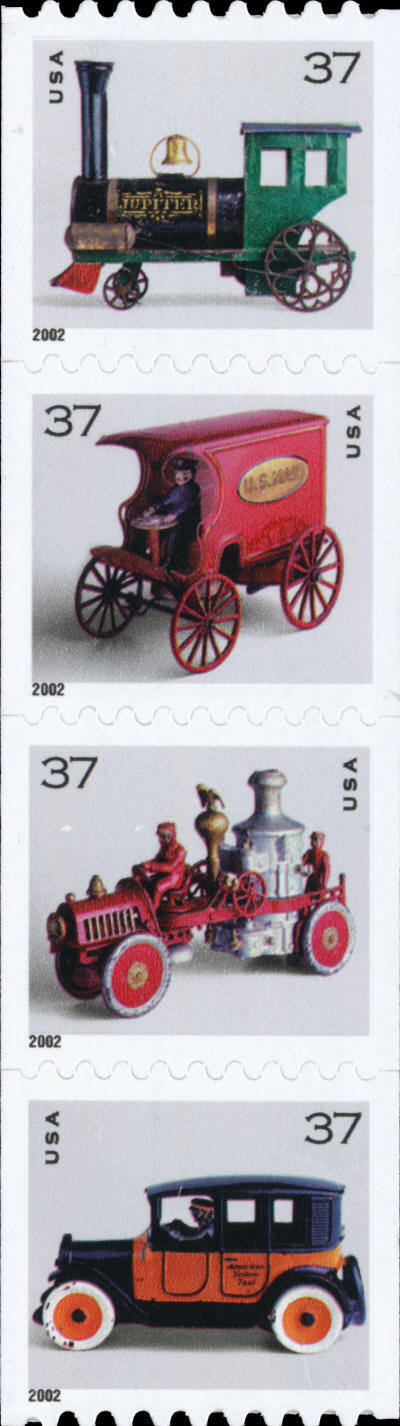 2002 37c Antique Toys, Strip of 4 Scott 3638-41 Mint F/