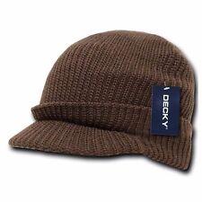 Men Visor Beanie Camo Ball Cap Hat Knit Ski Hunting Army Military Winter Hats