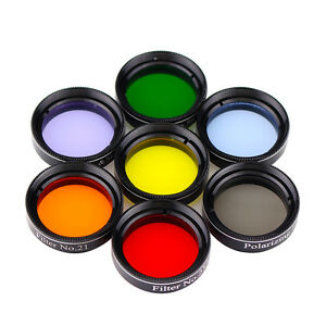 "1.25"" Eyepiece Filter Set Colored Planetary & Moon Telescope Filters Kit US Ship"