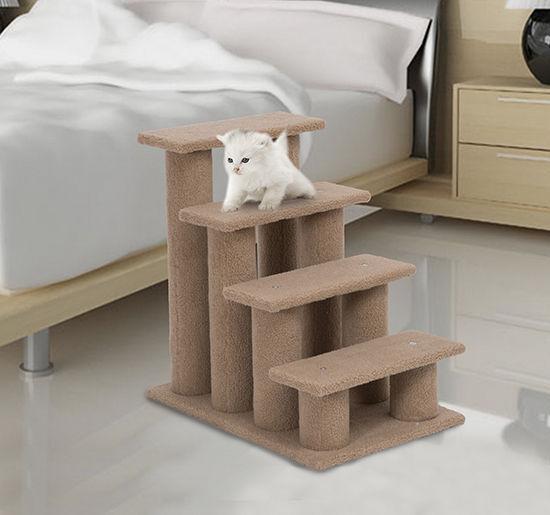Pawhut 24u0027u0027 Cat Tree 4 Step Stairway Perch Scratcher Pet Stairs Dog Ramp  Ladder | EBay
