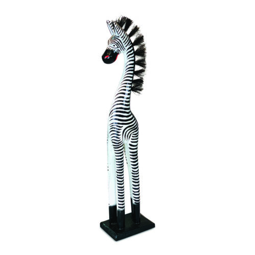 Various Sizes Hand Carved Painted Wooden Black White Zebra Sculpture Ornament