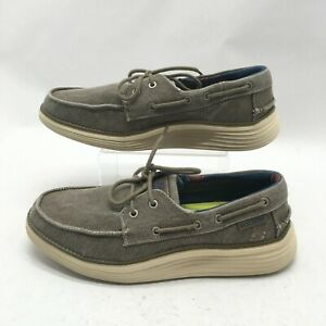 bostezando Definir golondrina  Skechers Status 2.0 Lorano Casual Boat Shoes Mens 8 Taupe Canvas Lace Up  65908 | eBay