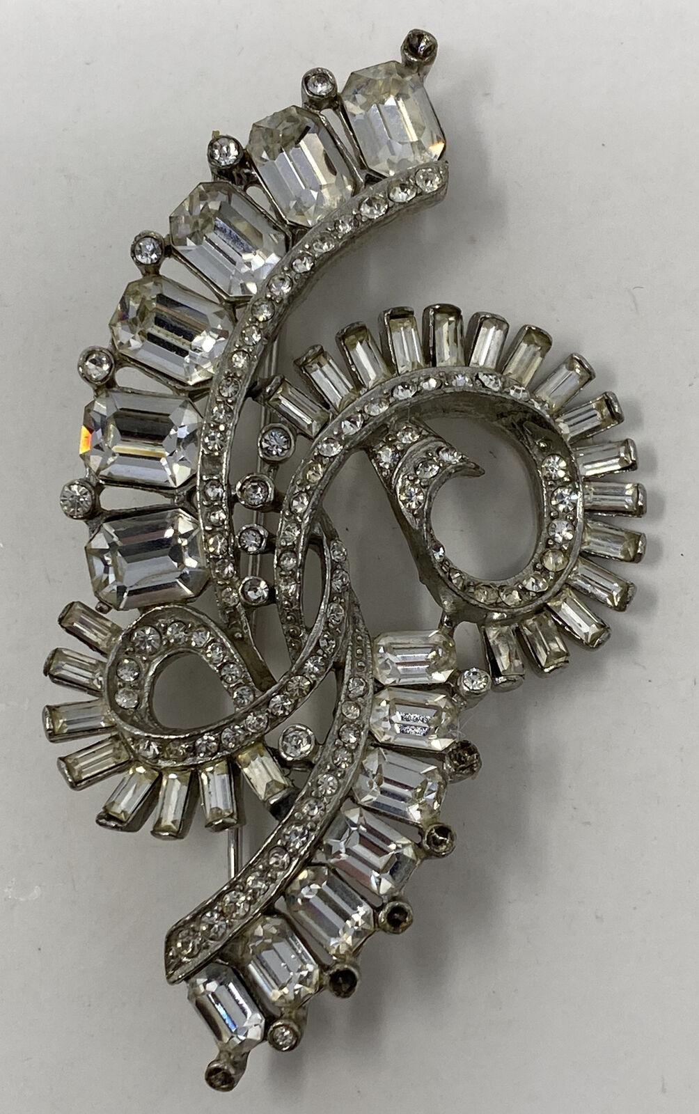 Vintage Crown Trifari Rhinestone Baguettes Bracelet Art Deco