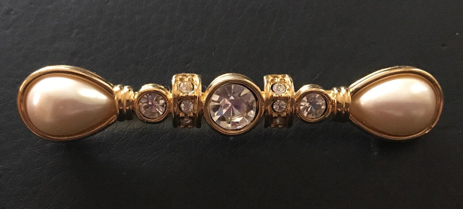 Monet Long Crystal Rhinestone, Pear Pearl & Gold … - image 3