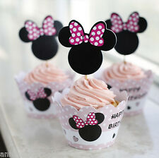 24 Pcs Minnie Mouse Party Cupcake Wrappers And Toppers
