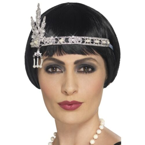 Women/'s 20/'s 30/'s Charleston Lady Fancy Dress Flapper Jewel Headband Silver