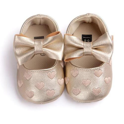 New Baby Girl or Coeurs Noeud en Cuir Synthétique Mary Jane Crib Chaussures Saint Valentin