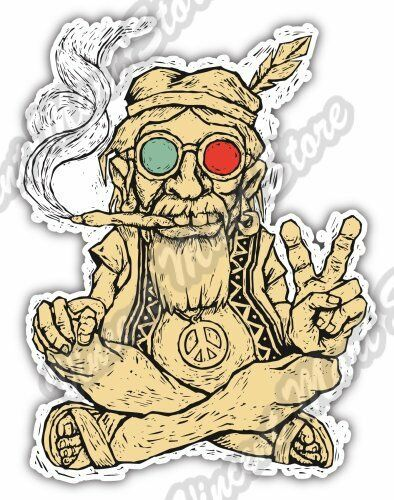 Hippie sitting smoking love peace music car bumper vinyl sticker decal