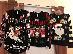 6595292891db42 Image is loading NWT-Womens-Ugly-Christmas-Sweater-Santa-Unicorn-Chimney-