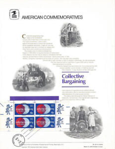 45-10c-Collective-Bargaining-1558-USPS-Commemorative-Panel-w-FDC-Tied-Single
