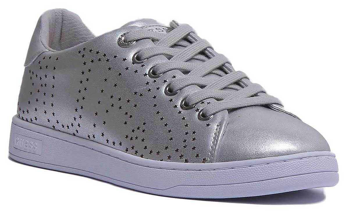 Guess Carterr Laminated Women Synthetic Leather Silver Trainers UK Size 3 - 8