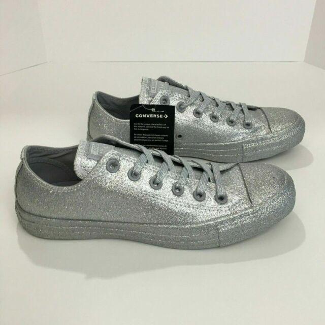 converse womens silver glitter sneakers