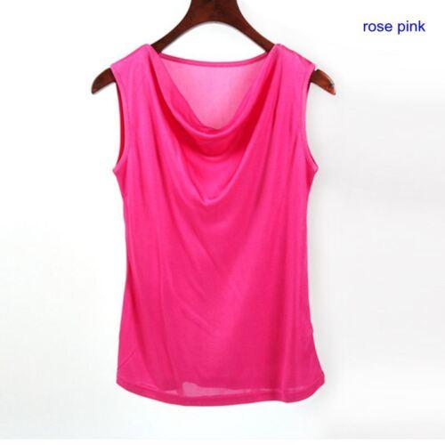 Damen 100/% Seide Ärmellos T Shirts Freizeit Tank Träger Tops Rüschen Ausschnitt