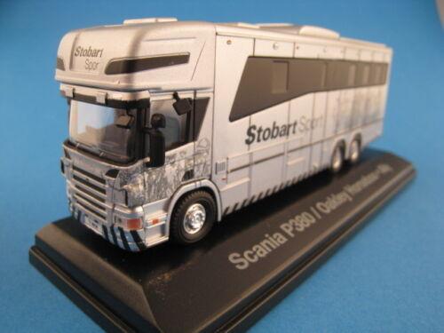 Scania P380 Pferdetransporter  Stobart Sport  in silber  ATLAS Edition  1:76