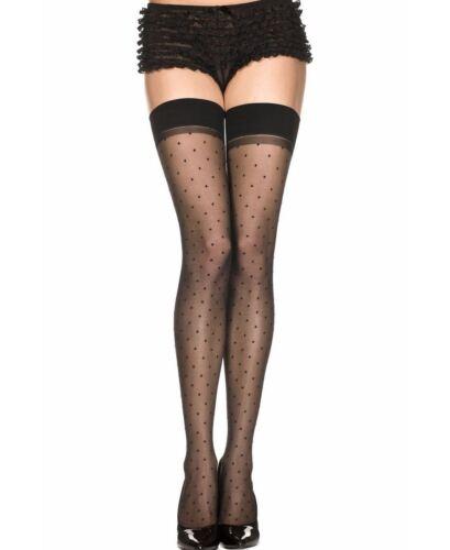 New Music Legs 4676 Polka Dot Spandex Sheer Thigh High Stockings