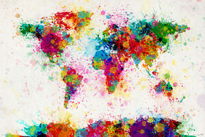 Map of the world paint drop world map poster print michael image is loading map of the world paint drop world map gumiabroncs Image collections