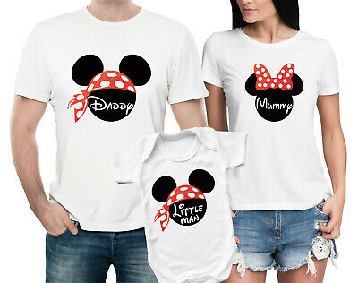 3 Family matching T-shirts set with mouse ears and custom text Set of 2 4 or 5