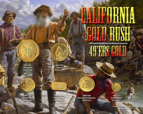 """H California Gold Rush /""""49ers Gold/"""" Historical Set on 8/"""" x 10/"""" Display Card"""