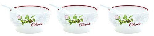 Tazones De Porcelana De Diseño De Oliva Easylife con cucharas individuales