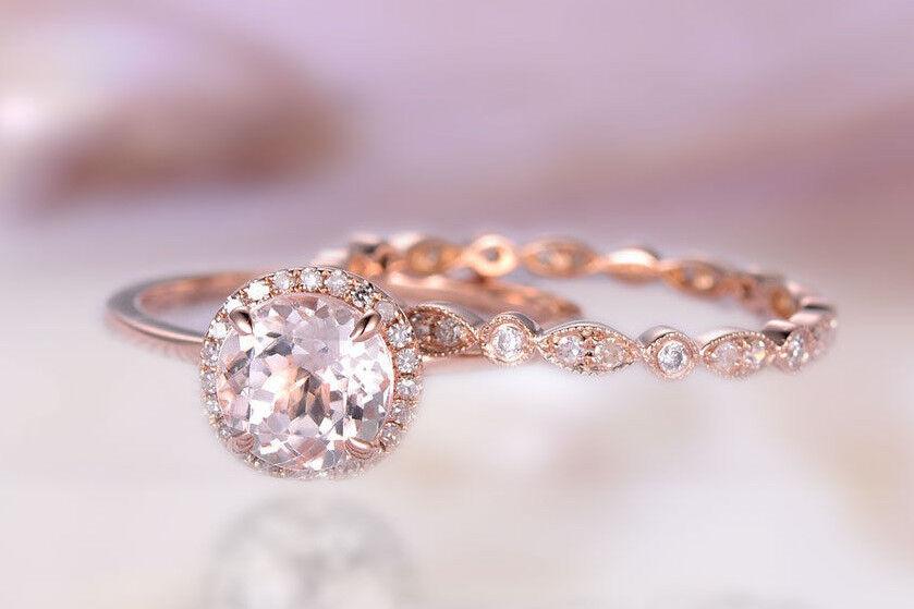 14k solid gold ring 5 m.m morganite ring set 2 diamond ring wedding ring DJR0256
