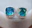 4.20Ct Cushion Cut Blue Topaz Push Back Halo Stud Earrings 18K White Gold Finish