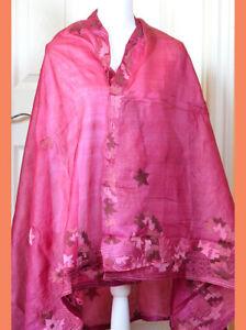 Silk-Vintage-Dark-Pink-Color-Embroidered-Long-Stole-Wrap-Dupatta-Veil