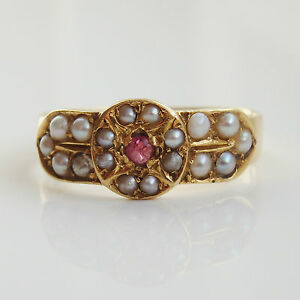 Delightful Antique Victorian 18ct Gold Ruby amp Pearl set Ring c1886 Size 039N 12039 - Hamilton, United Kingdom - Delightful Antique Victorian 18ct Gold Ruby amp Pearl set Ring c1886 Size 039N 12039 - Hamilton, United Kingdom