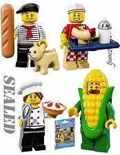 LOT 4 LEGO 71018 Minifigures Series 17 Connoisseur Hot Dog Gourmet Chef Corn Cob