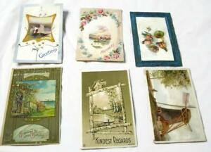 6-Antique-Postcards-Arts-And-Crafts-Squirrel-Windmill-Birds-Boats-Flowers