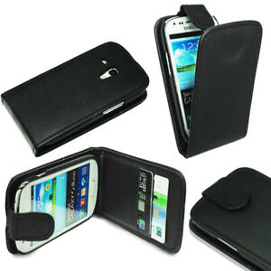 For-Samsung-Galaxy-S3-Mini-i8190-Black-Flip-Leather-Case-Cover-Screen