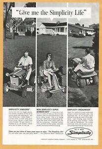 SIMPLICITY-Garden-Tractors-Flip-side-PARKER-75-pen-1965-Vintage-Print-Ad