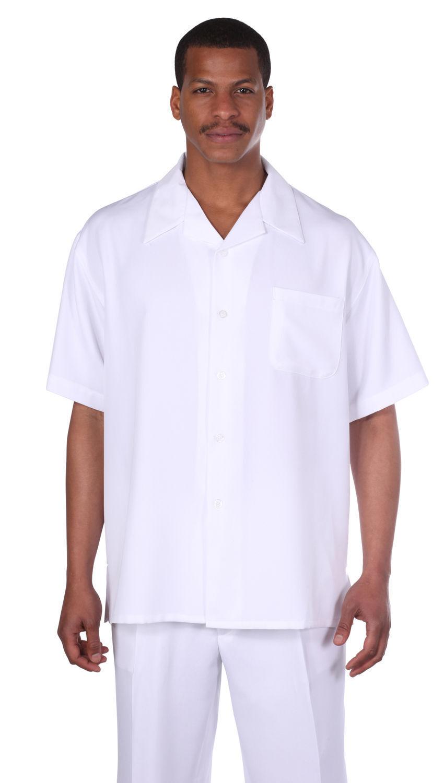 Men's 2 piece walking suit (shirt&pants) Solid White Size M L XL 2XL 3XL 4XL 5XL