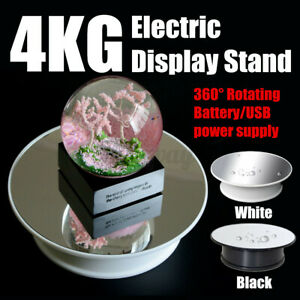 Round Mirror Top Electric 360° Turntable Rotating Jewelry Display Stand