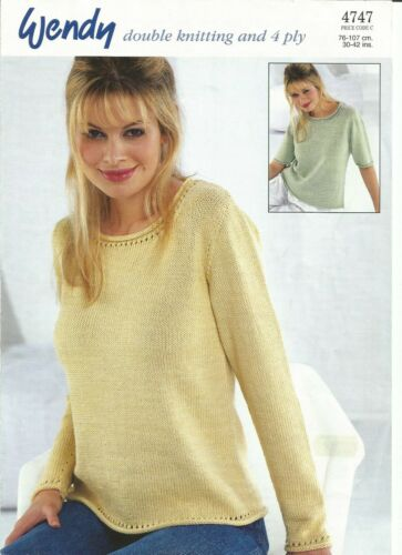 Double knitting and 4 ply pattern for lady/'s sweater with long or short sleeves